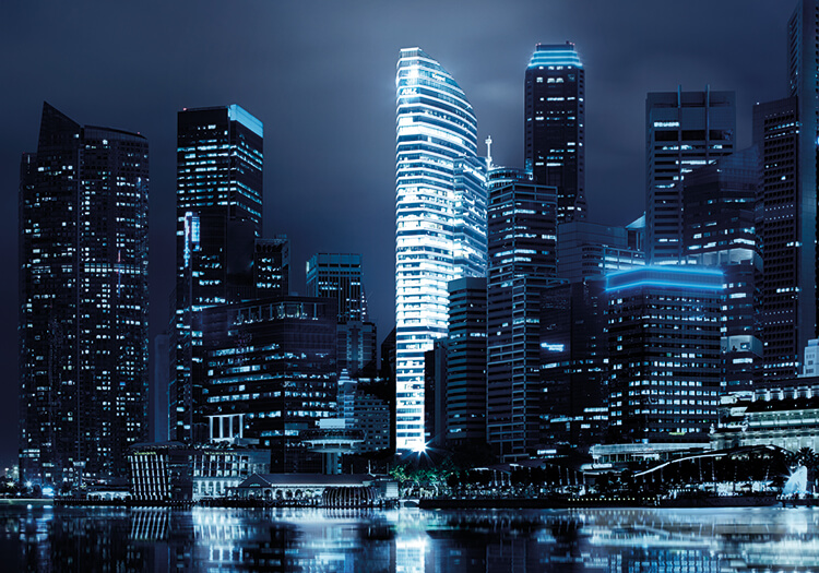 Keppel Land, OFC, Ocean Financial Centre, office building, CBD, singapore, night view