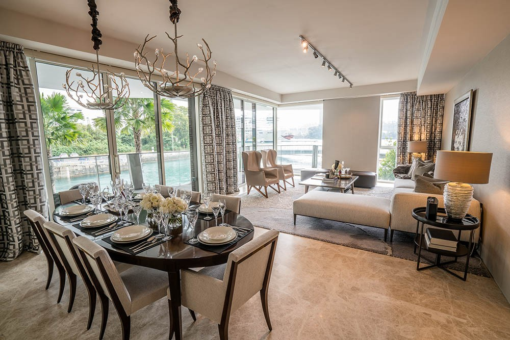 Corals at Keppel Bay, dining room, interior design, living room, high ceiling