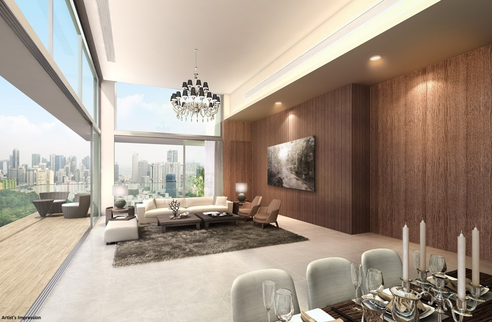 highline residences penthouse, interior design, high ceiling
