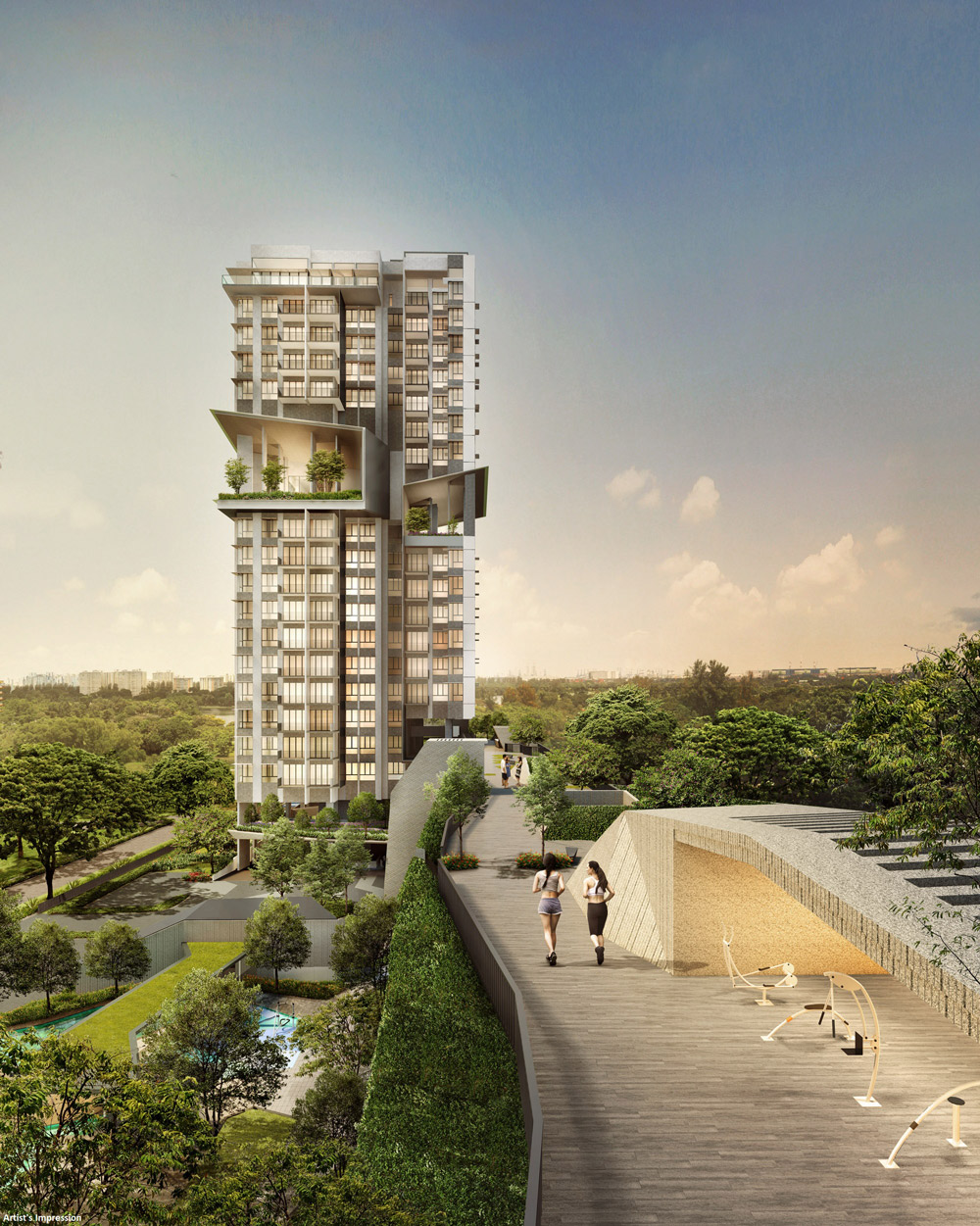 highline residences podium deck, elevated green ridge, outdoor fitness, garden, play area