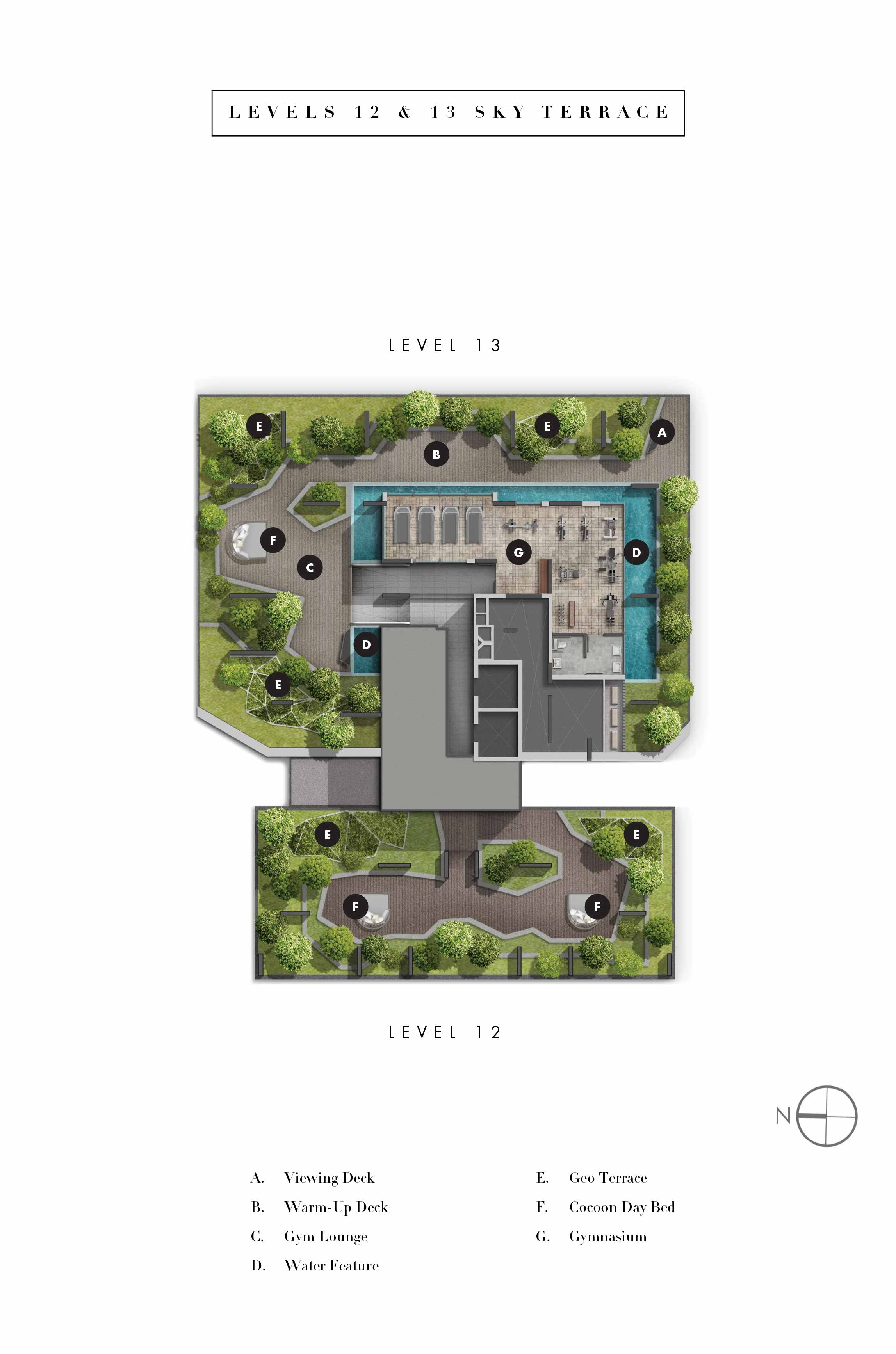 highline residences, sitemap level 12-13, sky terrace