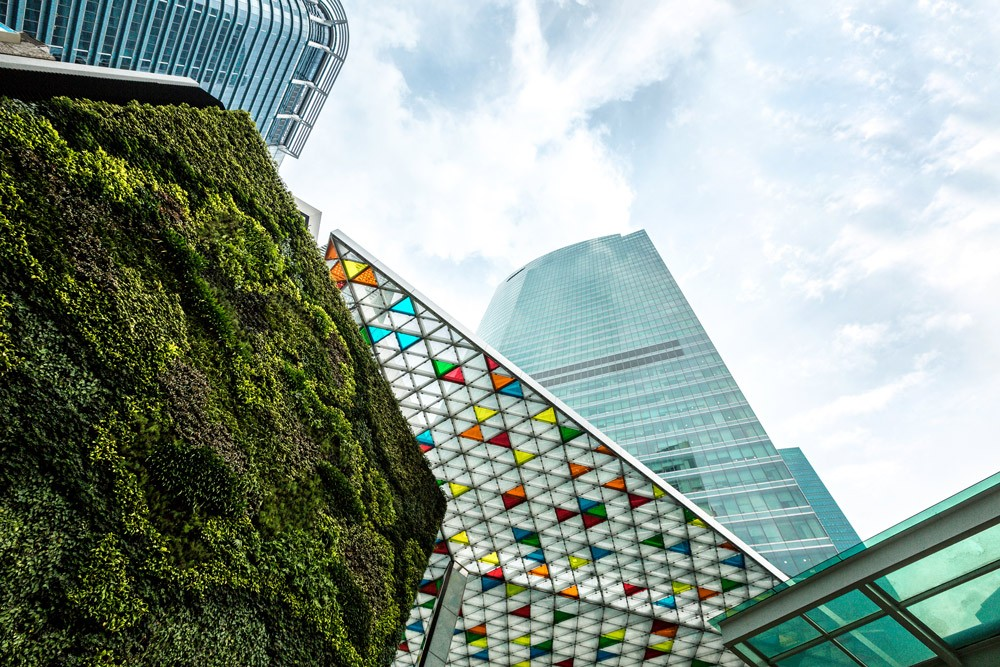 Ocean Financial Centre, OFC, extensive green walls and energy-efficient features