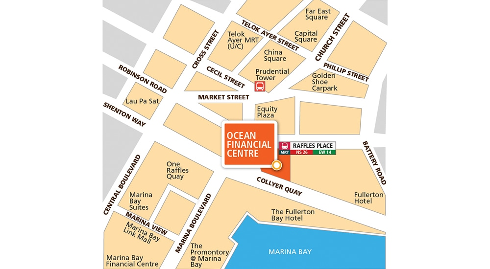 Ocean Financial Centre, OFC, Keppel Land, CBD, above Raffles Place,  centre of business and leisure, singapore