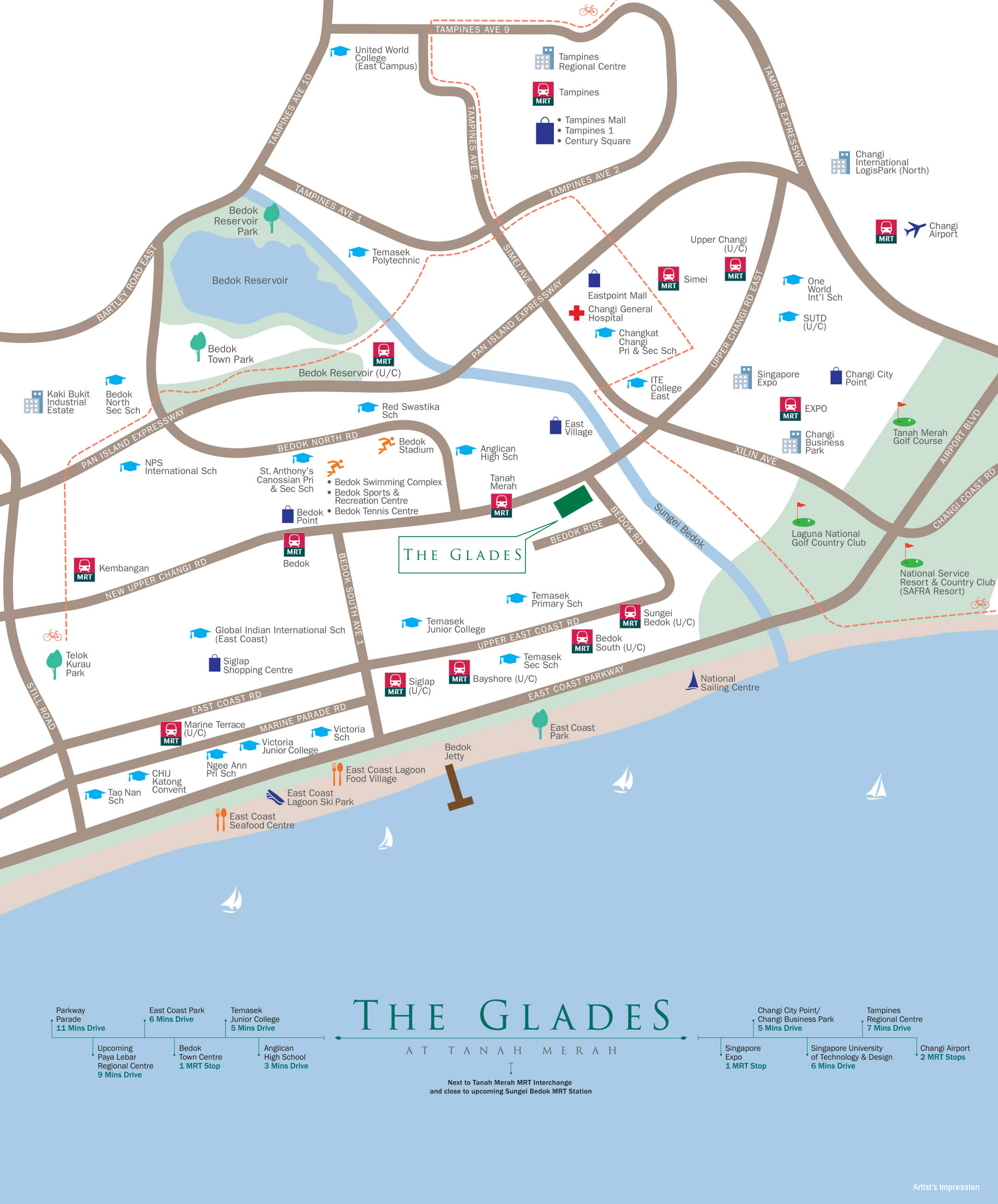 The Glades, Tanah Merah, location map