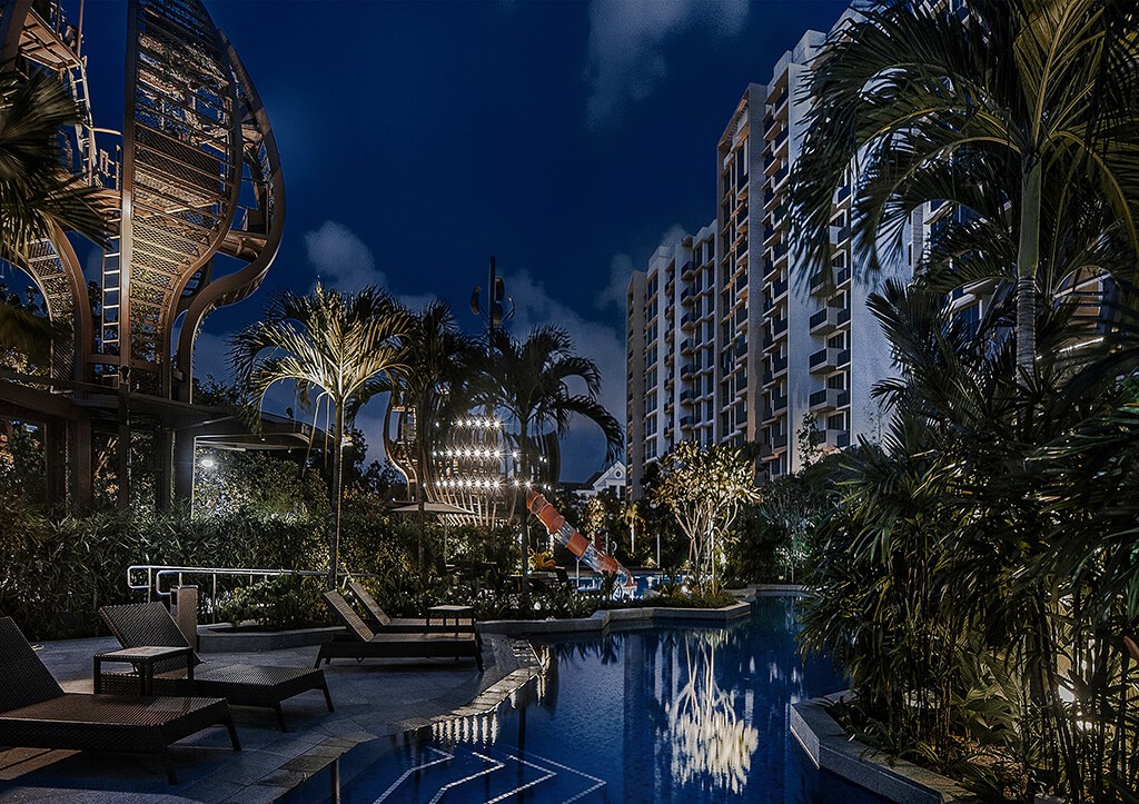 the glades, tanah merah, bedok rise, condominium, concept, night view, swimming pool, forest