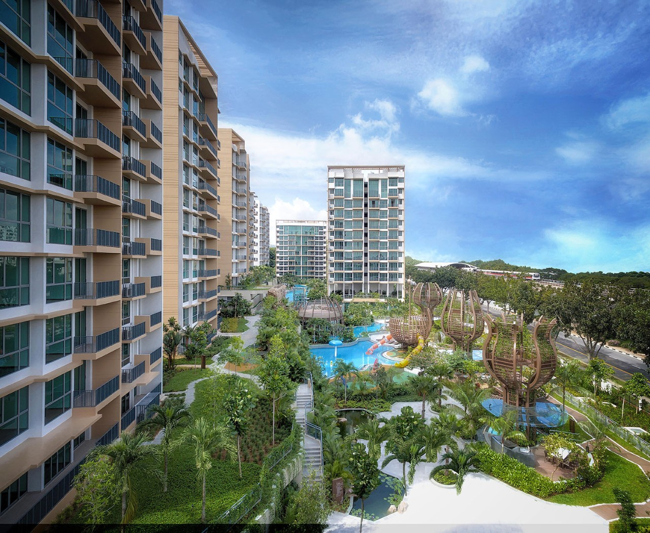 the glades, tanah merah, bedok rise, condominium, swimming pool, forest trail, waterfall